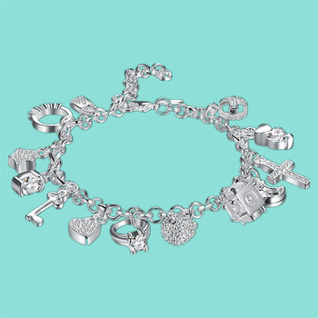 Silver Bracelets For Women 925 Sterling Silver Jewelry Wristband Multi Charms Bracelet Wedding Party Gift women bracelets silver dragonfly bracelet for women romantic bracelets silver 925 jewelry