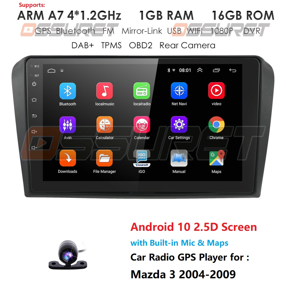 Car DVD GPS android 9 Car Radio Stereo 1G 16G Free MAP Quad Core 2 din Car Multimedia Player For Mazda 3 2004-2013 maxx axel mic
