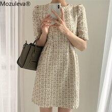 Mini Dress Puff-Sleeve Mozuleva Women Summer Vestidos Party Plaid Elegant Vintage Fashionable