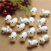 2 uds Kawaii Mini lechería blanca animales casa Micro estatuillas de hadas de jardín miniaturas decoración del jardín del Hogar Accesorios DIY
