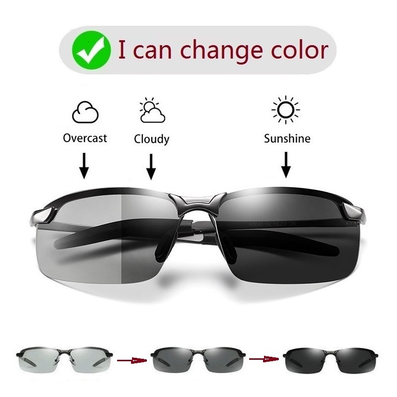 Photochromic Sunglasses Men Polarized Chameleon Glasses Male Change Color Sun Glasses Day Night Vision Driving Eyewear Uv400