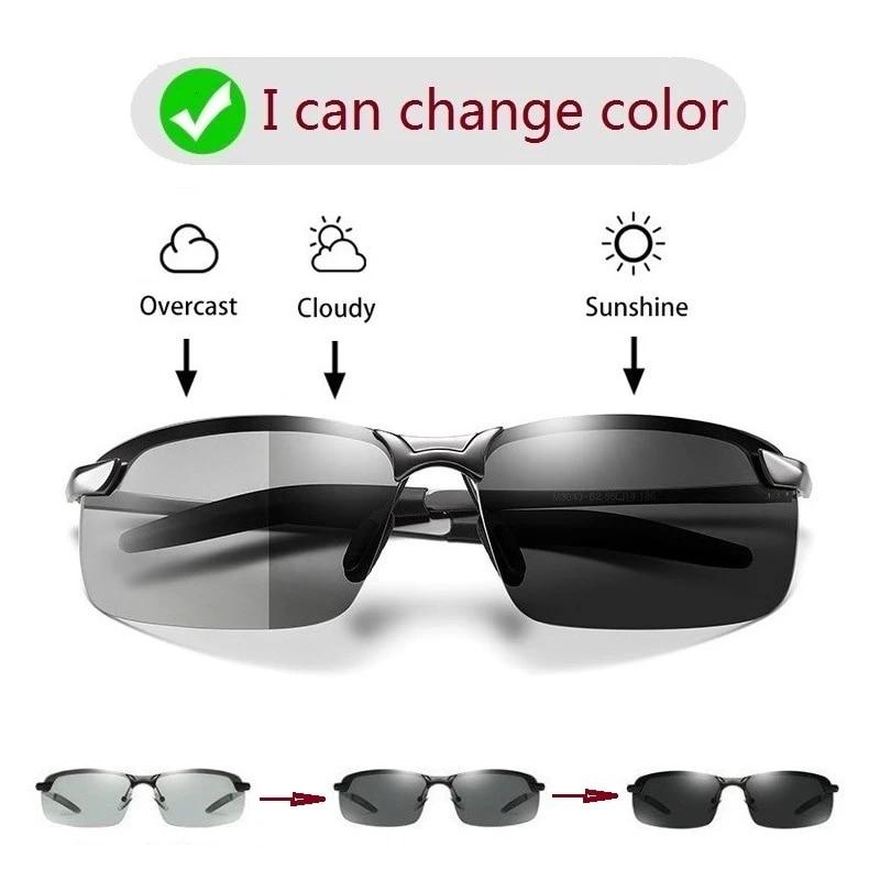 AOWEAR Photochromic Sunglasses Men Polarized Chameleon Glasses Male Change Color
