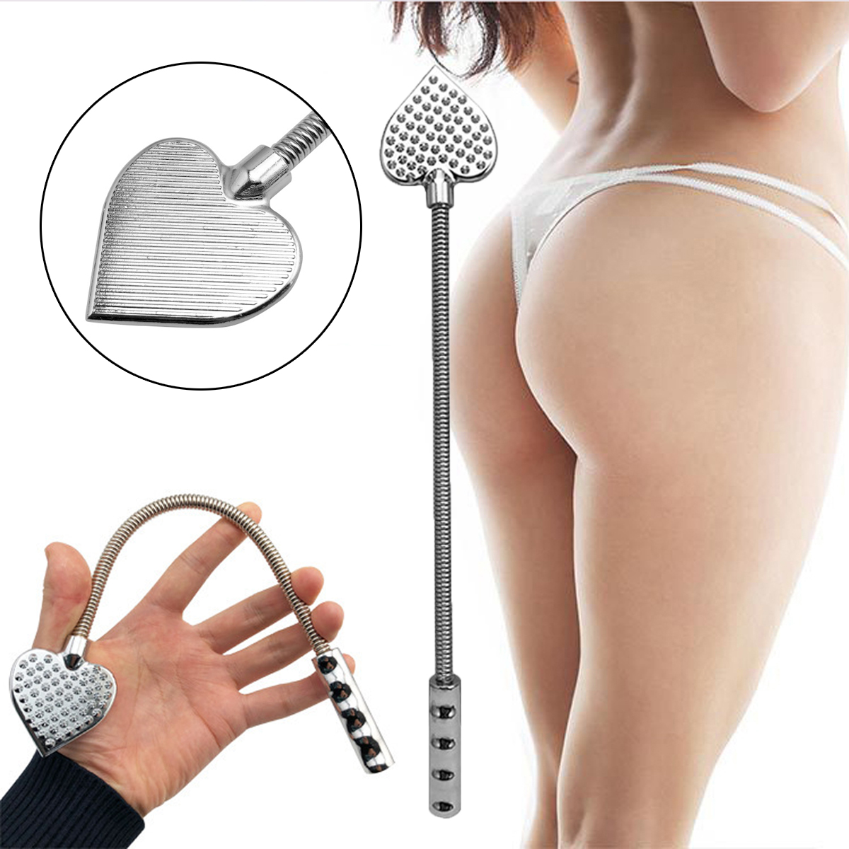Metal Stainless Steel Spanking Whip Racket Beat Hand Butt Slap Bdsm Whips Heart-shaped Paddle Cosplay Restraint Queen Sex Toy