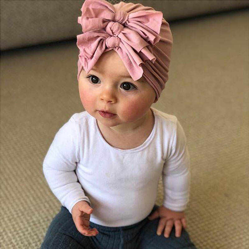 New ベビー帽子ビッグ弓ソフトコットン新生児女帽子冬秋新生児の写真の小道具ベビーボンネットビーニー Muts 0-36M
