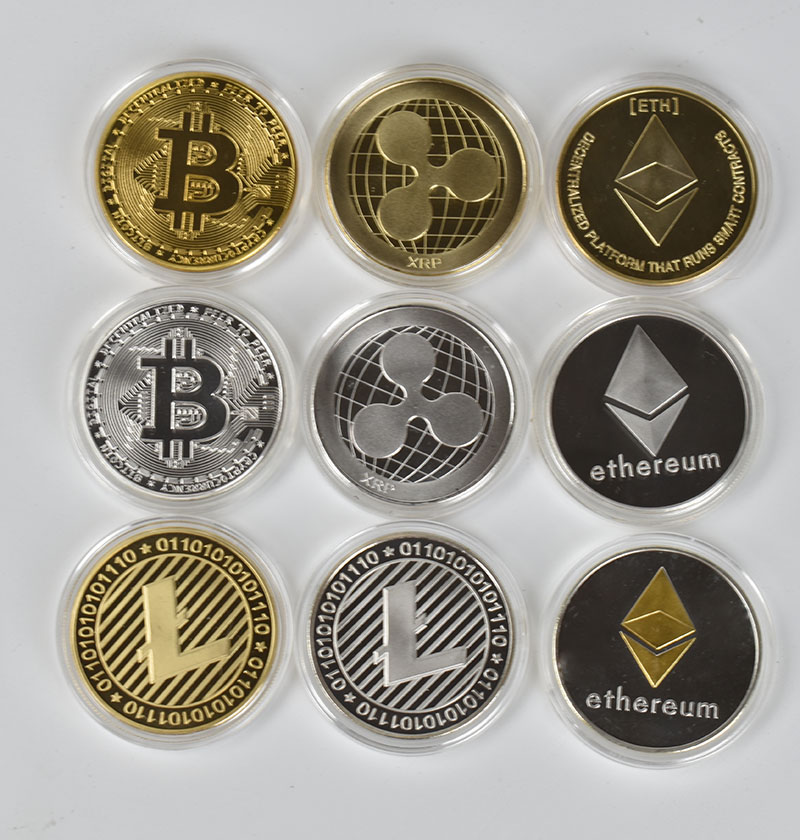 Bit Coin gold  Btc coin cions Litecoin Ripple Ethereum Cryptocurrency Metal Commemoration Gift Physical antique imitation-3
