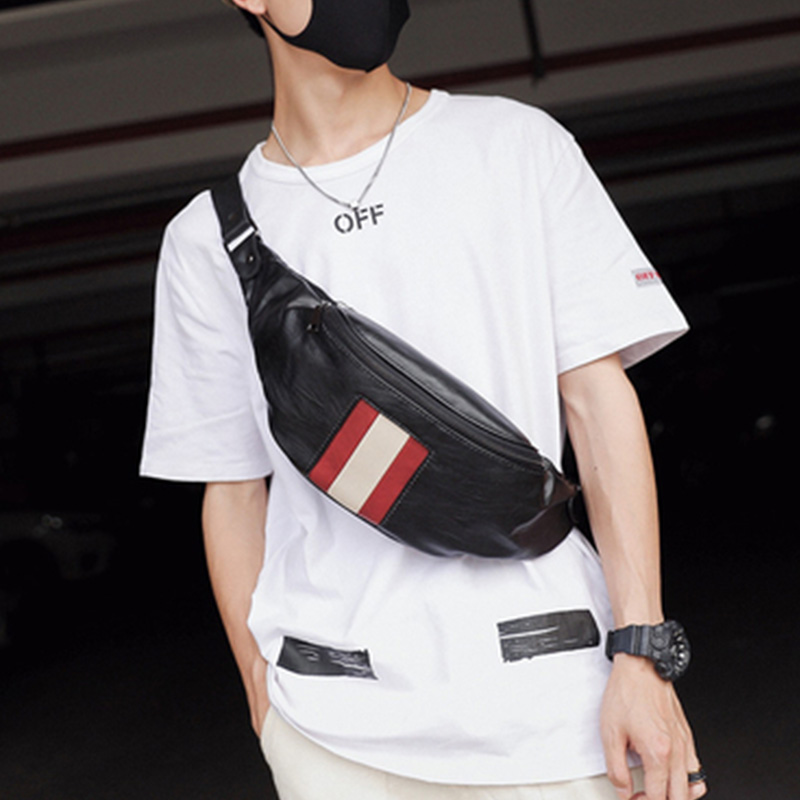 Male Fanny Pack  Man Belt Pouch Street Hip Bag High Capacity Banana Bag Leather Young Kidney Money Belt Shoulder Package