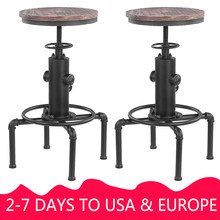 Height Adjustable Chair Bar Chairs Metal Industrial Stool Barstool Swivel Pinewood Top Kitchen Dining Chair Pipe Style(China)
