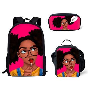 FORUDESIGNS Girls School Bags African Black Girls Hairstyle School Backpack Set Scool Bag For Girl Kids Girl Backpack Junior Bag 24
