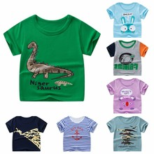 2020 Short Sleeve Cartoon Rabbit Children Infant Kid Boys Cartoon Striped Dinosaur Print Pocket T-shirt Tops Shirts Tee LGKL28