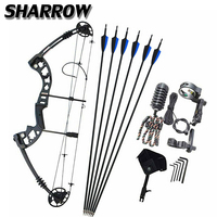 1Set Archery Compound Bow 38Inch 30 55lbs Adjustable Pulley Bow For Outdoor Hunting Shooting Training Archery Accessories