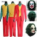 2019 фильм в стиле «Джокер» для костюмированной вечеринки хоакином Фениксом клоун Одежда Артур крапинку костюм красный костюм для Хэллоуина ...