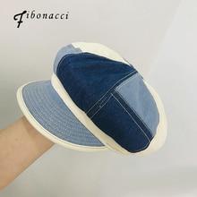 Fibonacci New Fashion Hats For Women Beret Spring Summer Octagonal Cap Denim Patchwork Retro Visor Artist Octagonal Hat Travel