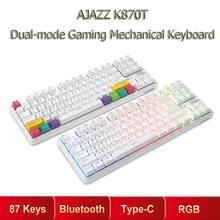 AJAZZ K870T 87 klawiszy klawiatura mechaniczna RGB bezprzewodowy bluetooth + type c podwójny tryb przełącznik mechaniczny klawiatura do gier na PC