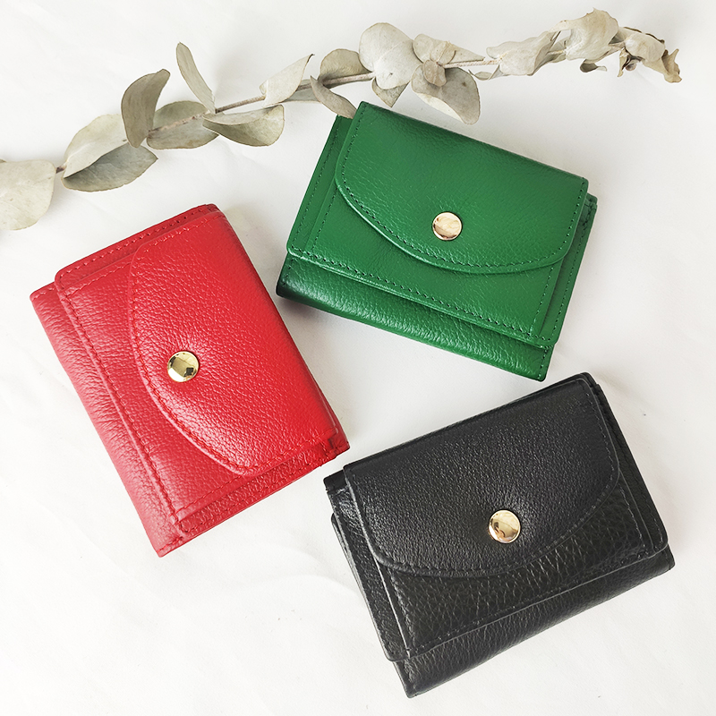 Cowhide <font><b>Wallet</b></font> <font><b>Short</b></font> Credit Business Card Holders <font><b>Genuine</b></font> <font><b>Leather</b></font> Women <font><b>Men</b></font> Coin Purse Pocket Female Fashion Money Bag image