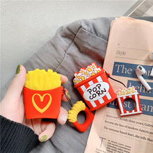 For AirPods 2 Case Popcorn French Fries Cartoon Cute Earphone Soft Silicone Cases For Apple Airpods Case Accessories Cover Funda cute cartoon case for apple airpods fries burger create cover wireless bluetooth earphone case for apple airpods 2 a30