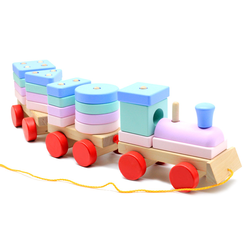 Baby Stacking Train Wooden Train Block Toy Montessori Soft Blocks Shape Color Matching Fun Game For Chidren's Education Gifts
