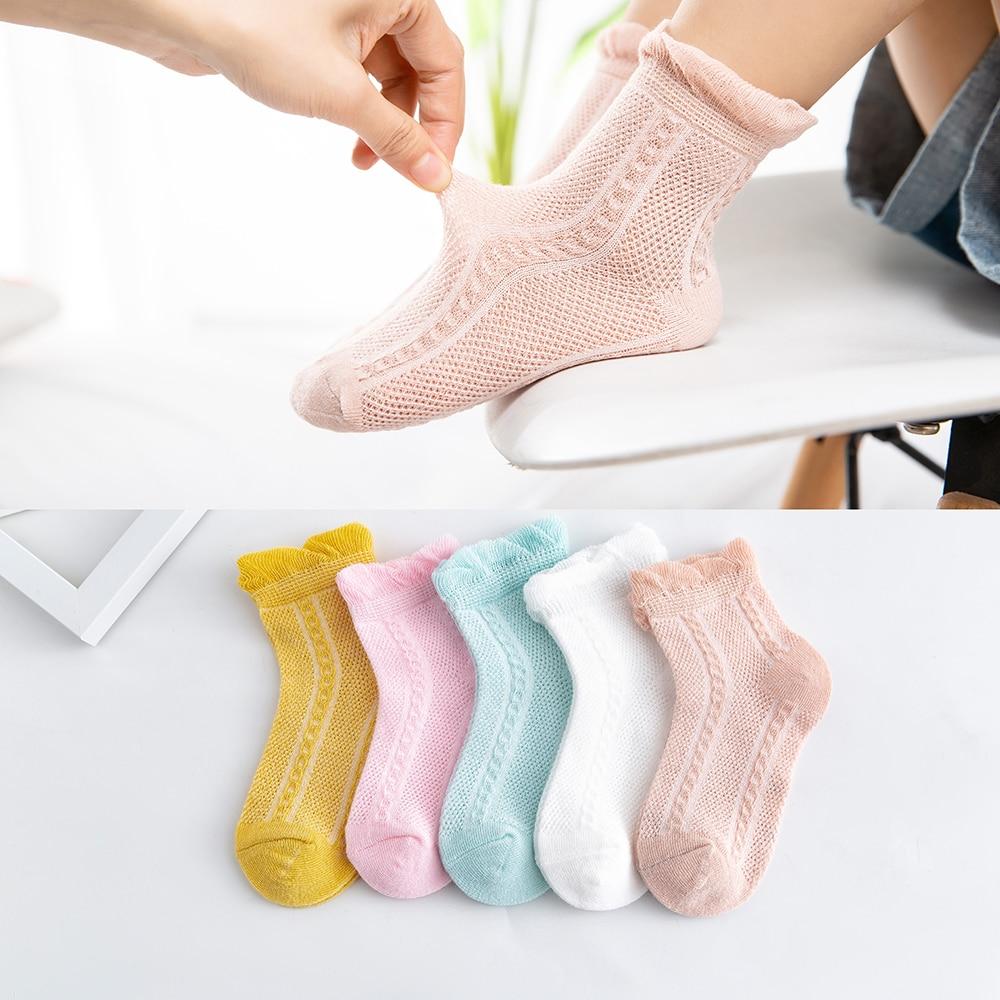 5Pairs/lot 2-9Y Baby Socks Summer Cotton Jacquard Thin Kids Socks Solid Colorful Girls Mesh Cute Newborn Boy Toddler Socks Baby 1