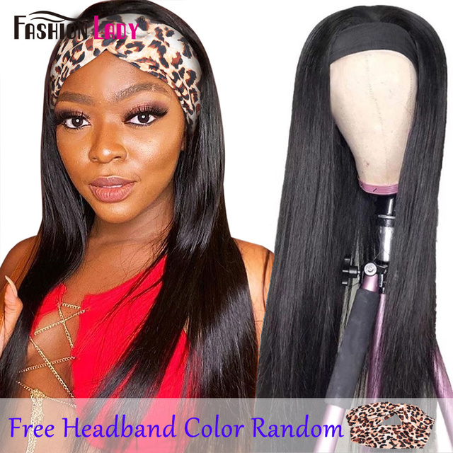 Fashion Lady Headband Wig Human Hair Straight Wave For Black Women 2020 Winter New Arrival Remy Hair Glueless Full Machine Wigs