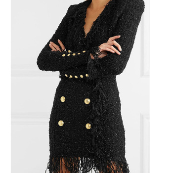 HarleyFashion 2019 Autumn Winter Design Sexy V-neck Double Breasted Tweed Slim Straight Tassel Dress High Quality 1