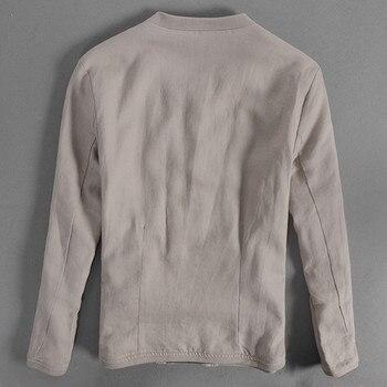 pure natural linen V-neck zipper solid spring khaki black Army Green Dark blue thin causal jacket men