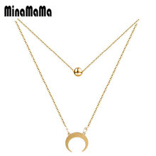 Fashion Stainless Steel Moon Round Ball Crystal Double Layer Necklace Crescent Moon Horn Pendant Necklace for Women Best Gift(China)