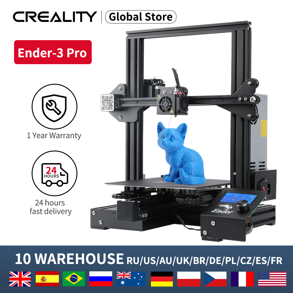 CREALITY 3D Printer Ender-3 PRO Printer KIT Print Mask With Brand MW Power Glass option 3D Drucker Impresora Printer Kit