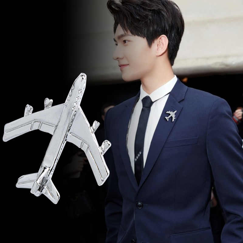 Korean Small Airplane Brooch Jet Flight Lapel Pin Badge for Women and Men Suit Sweater Shawl Buckle Collar Brooches Accessories