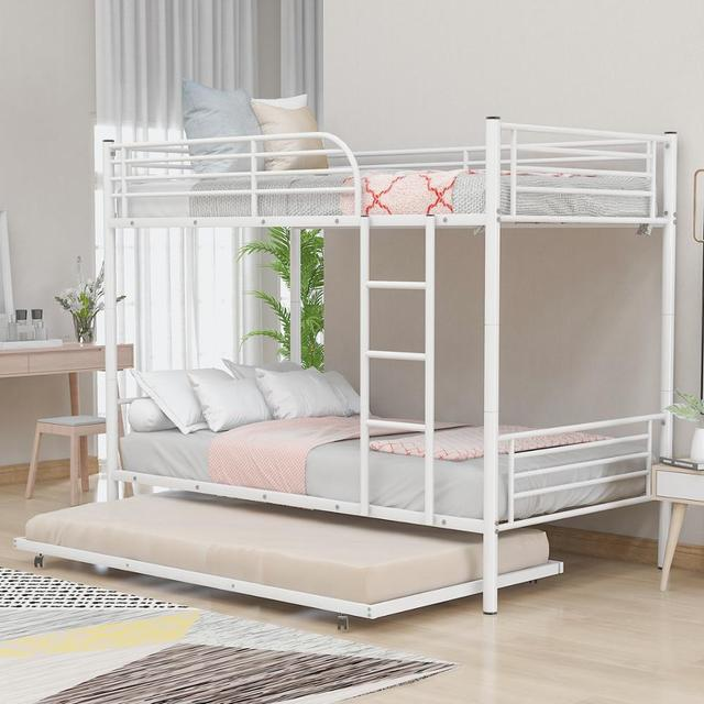 White Metal Twin Over Twin Loft Bunk Bed  1