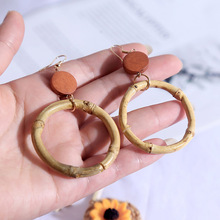 bohemian hoop earrings Simple Round Handmade Bamboo Dangle Earrings Wooden Drop For Women