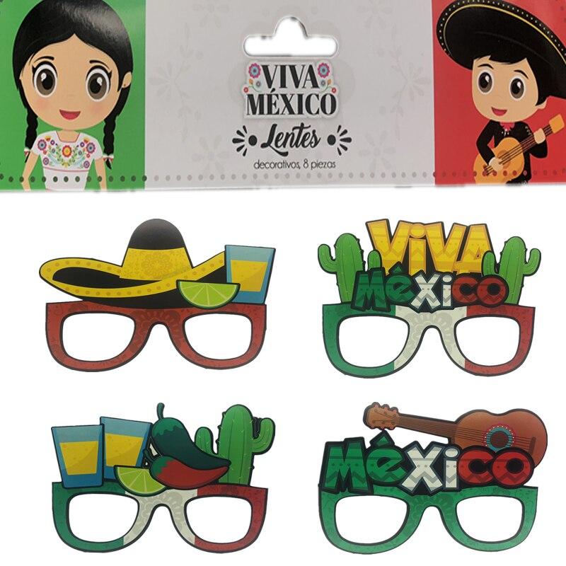 8pcs/lot Mexican Party Decorations Viva Photo Props Mr Ms DIY Photobooth Mexico Cinco de Mayo Decor Supplies