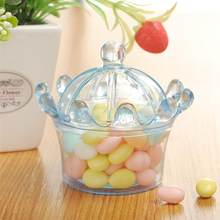 12pcs Wedding Candy Boxes Sweet Case Plastic Round Plastic Food Candy Box lucency Sugar Box Crown Shape for Party(China)