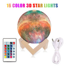 15CM Rechargeable Moon Light 3D Print Moon Lamp Remote Control Night Light Bedside Children'S Christmas Gifts Dropshipping