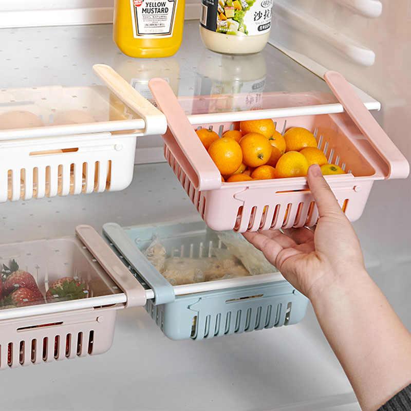 1 pc 調節可能な伸縮性冷蔵庫オーガナイザー引き出しバスケット冷蔵庫プルアウト引き出し新鮮なスペーサー層収納ラック