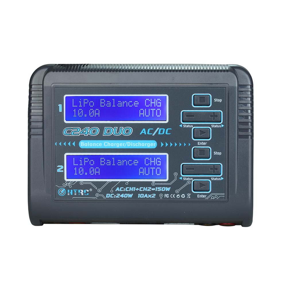 HTRC C240 Dual Channel LiPo Battery Charger AC 150W DC 240W 10A 1-6S for Li-ion LiFe NiCd NiMH LiHV PB Smart Battery Discharger