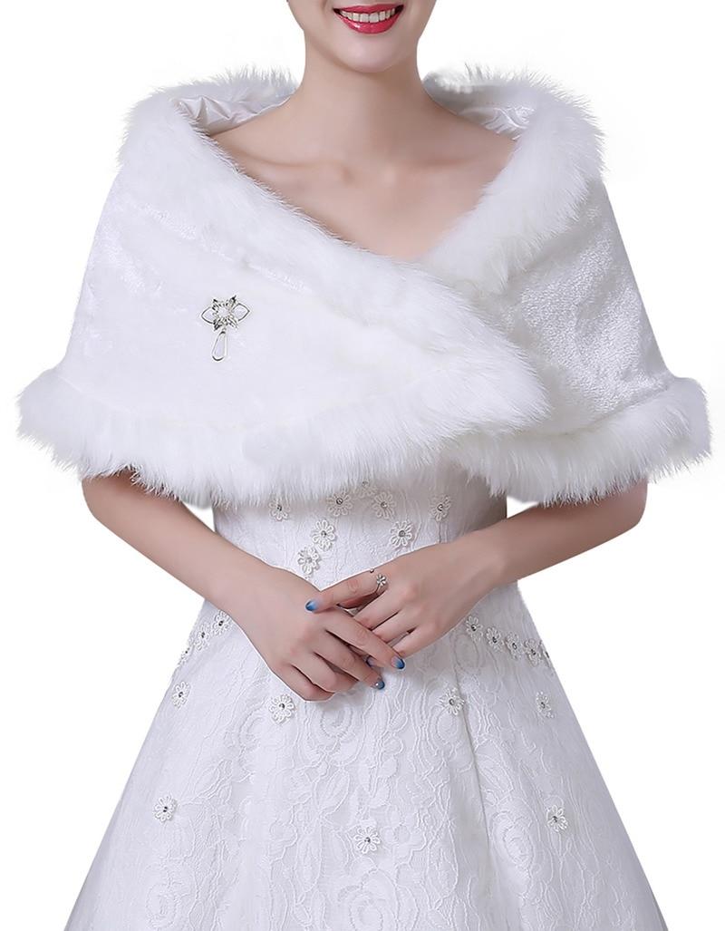 YULUOSHA Autumn Winter New White Bride Fur Shawl Warm Plush  Bridesmaid Wedding Off-the-shoulder Coat Wedding Cape Feather Robe