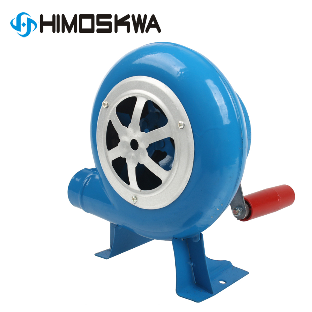 80w Metal Industrial Outdoor Barbecue Iron Gear Hand Crank Blower Hand Fan Manual Fire Blower Popcorn Fan Blue Model