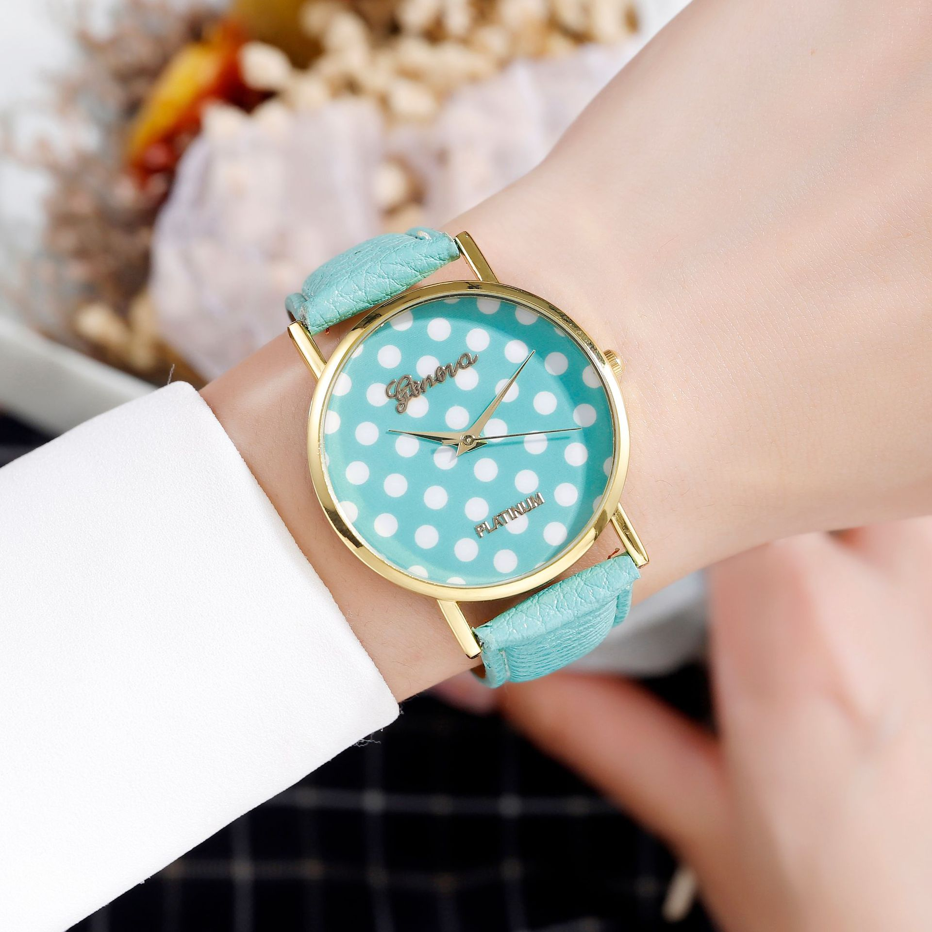 Women Watch Luxury Ladies Polka Dot Watch Contrast Color Leather Quartz Couple Watch Casual Clocks Relogio Feminino Green