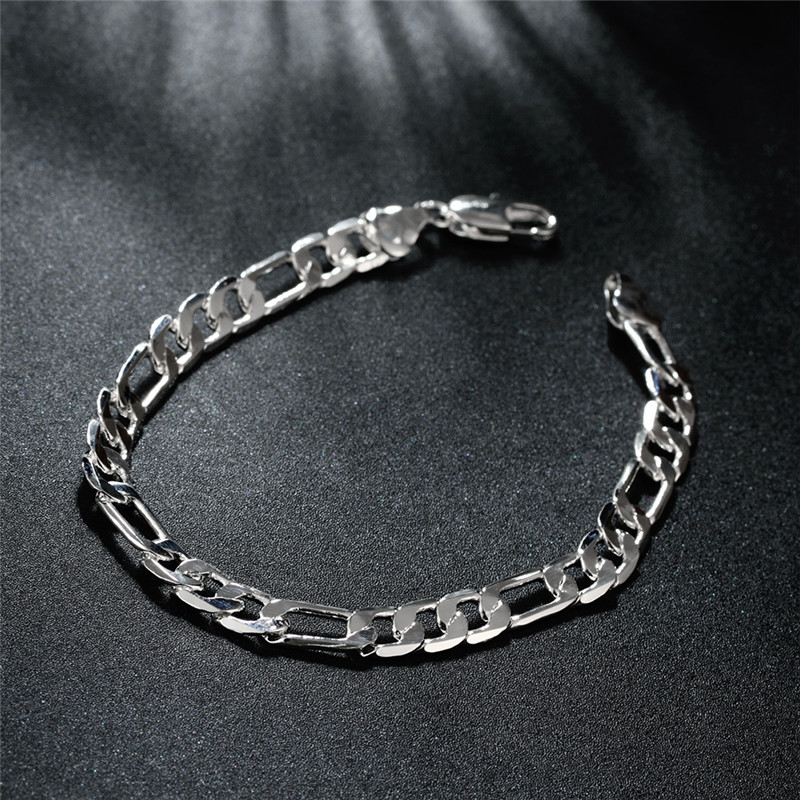 Beautiful Elegant wedding women men silver color 6MM Flat Bracelet high quality fashion classic jewelry JSH-H219 , wholesale 2