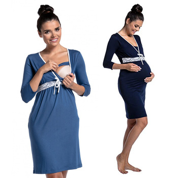 Dollplus women 출산 패션 잠옷 임신을위한 잠옷 간호 잠옷 레이스 v 넥 임신 한 모유 수유 잠옷