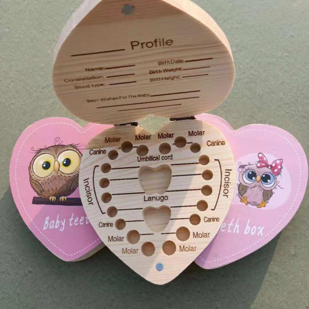 Baby Deciduous Wooden Teeth Box Children's Souvenir Save Tools Cartoon Baby Milk Teeth Organizer Storage Kids Tooth Box J11
