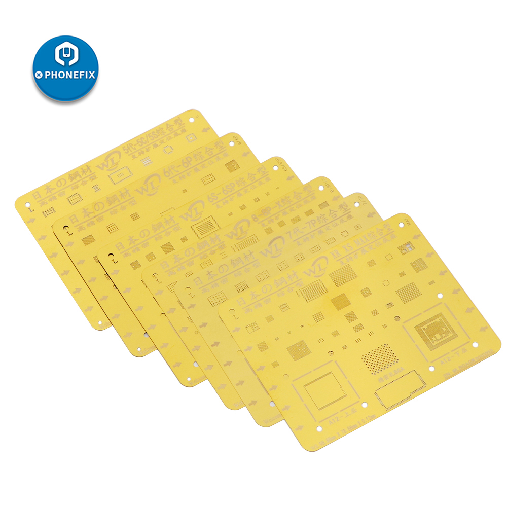 WL Golden Steel Mesh Tin Planting BGA Reballing Stencil For IPhone 5/5C/5S/6/6P/6S/6SP/7/7P/8/8P/X/XR/XS/MAX Motherboard Repair
