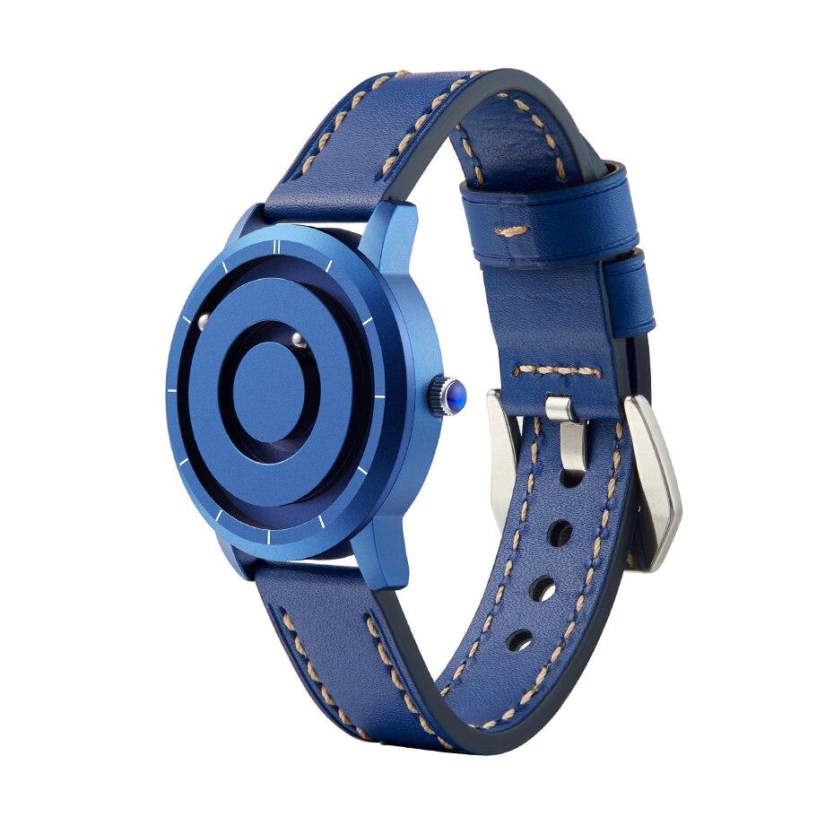 EUTOUR New Innovative Blue Gold Magnetic Metal Multifunctional Watch Men's Fashion Sports Quartz Watch Simple Men's Watch 5