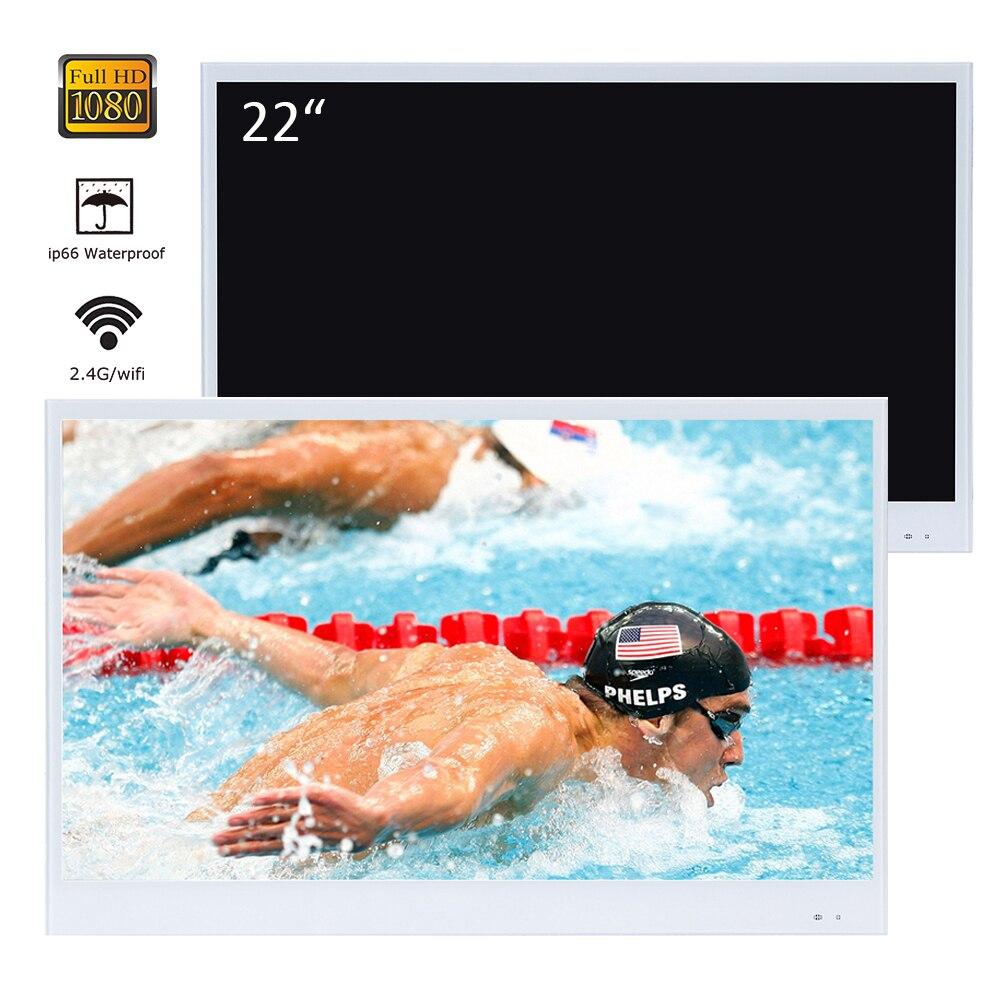 Soueria 22 pulgadas blanco acabado baño de lujo Smart LED TV Interior a prueba de agua televisión cocina aparato YouTube disponible