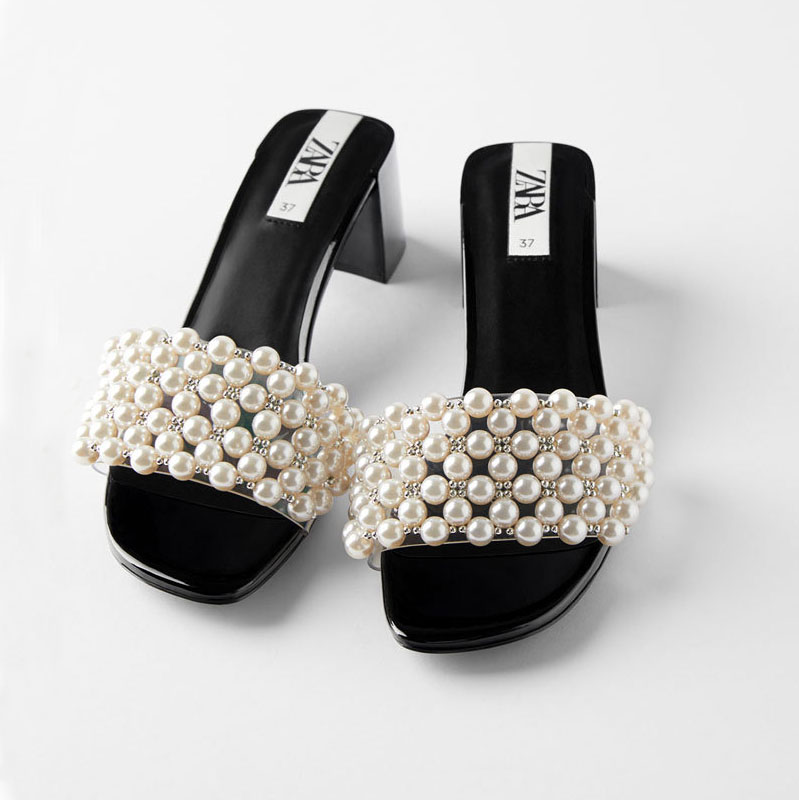 FAMOUS BRAND SAME Design Fashion 2020  Ladies Slippers And Sandals Pearls Upper Block Heel  Women Slides