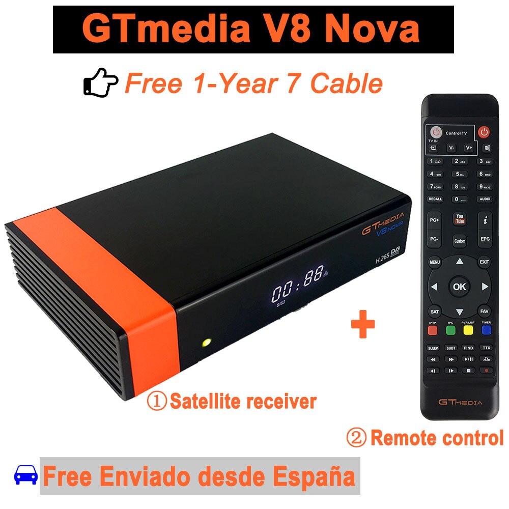 Receptor de satélite gtmedia v8 nova hd DVB-S2 freesat receptor de satélite livre 1 ano europa 7 linhas de cabo gtmedia v8 nova