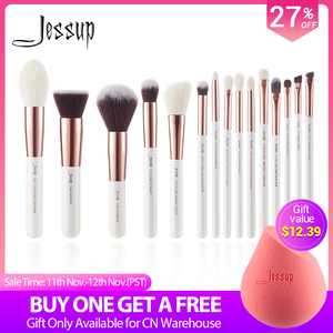 Image 1 - Jessup brushes Pearl White / Rose Gold Professional Makeup Brushes Set Make up Brush Tool Foundation Powder Definer Shader Liner