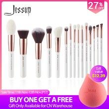 Кисти для макияжа Jessup, Профессиональный набор кистей для нанесения основы под макияж, с жемчужным белым/розовым золотом