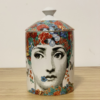 Lady Face Jar DIY Empty Candle Holder Beauty Dressing Brush Pen Box with Lid Ceramic Storage Tin Flower and Bottle 17