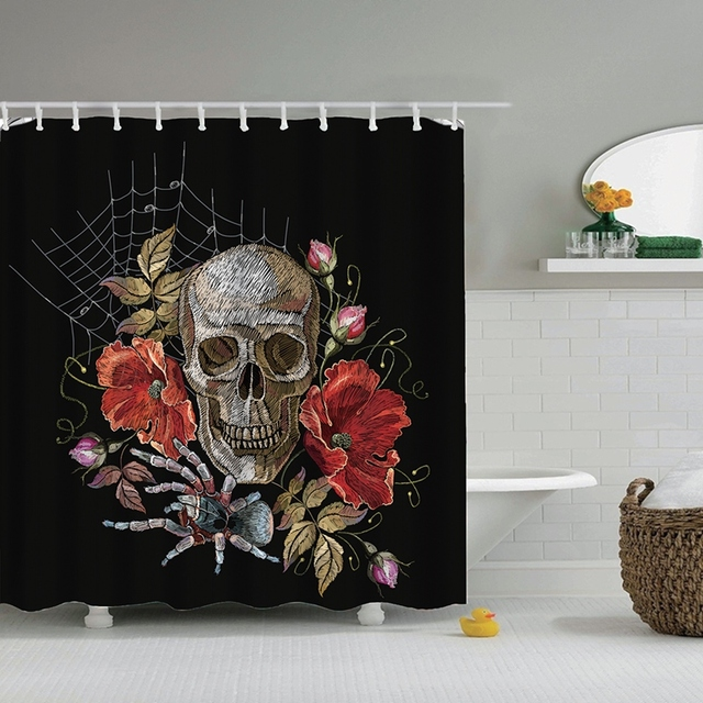 dafield sugar skull shower curtain with flower waterproof fabric for bathroom with hooks