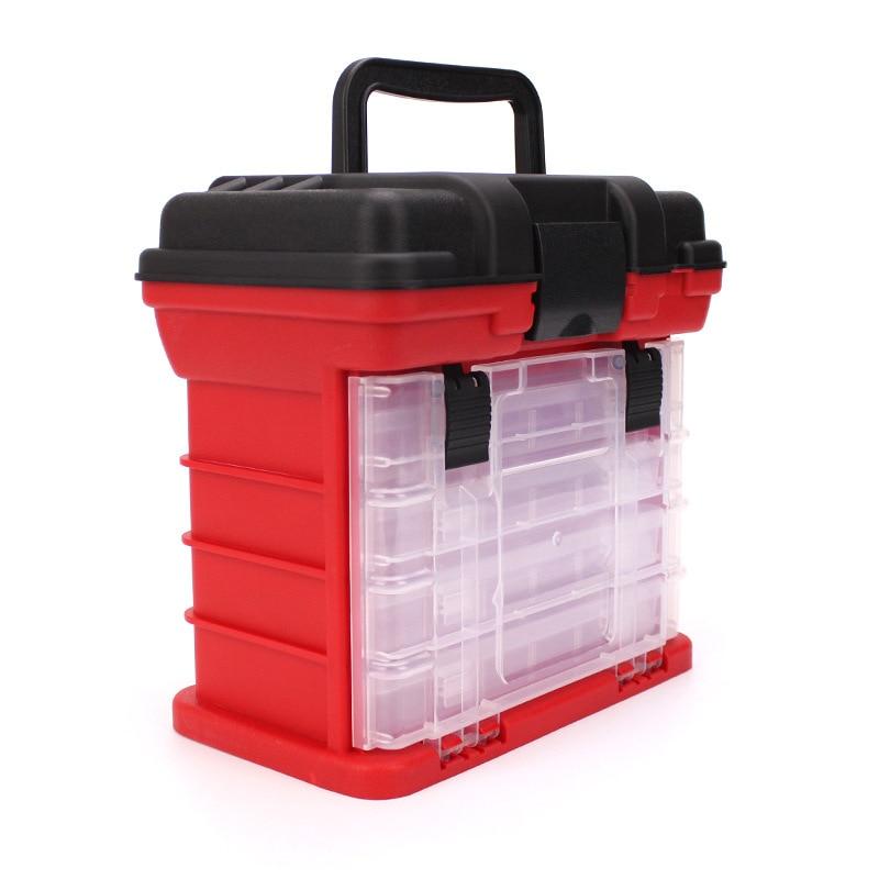 26 17 26cm portatil 5 camada grande caixa de equipamento de pesca com alca de plastico